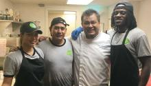The diverse kitchen staff of Chalaco's (from left to right): María Fajardo from Venezuela, Saúl Rojas from Mexico, Yuki Nakandakari from Perú and Phil Keese from Philly.