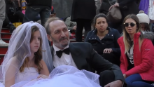 Still from a child marriage social-experiment conducted in Times Square by YouTube vloggerCoby Persin.