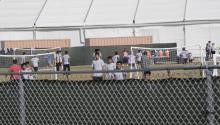 Children detained at the Homestead Temporary Shelter for Unaccompanied Children on Monday, June 18, 2018. The facility is housing 1,192 teenage immigrants, including 391 girls. ELLIS RUA/MIAMI HERALD