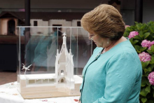 Former Chilean President Michelle Bachelet in front of the project model.
