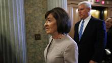 Susan Collins, R-Maine, arrives on Capitol Hill on Friday. Getty.