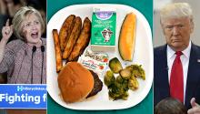 Photos EFE and By DC Central Kitchen - Lunch at DC Public Schools on 10/9/12: Local Beef Burger on a Whole Wheat Bun, Roasted Brussel Sprouts, Baked Potato Fries, Cantaloupe Wedge & Milk, CC BY 2.0.