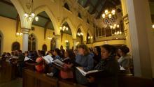 El coro papal hispano llevó a cabo su último ensayo el pasado 22 de septiembre en la Catedral de la Inmaculada Concepción en Camden (NJ). Foto: Frank Hernandez