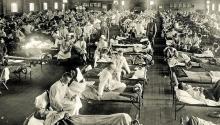 """La """"gripe española"""" o influenzainfectóa untercio de la población mundial y se cobróentre 50 y 100 millones de muertesen 18 meses. Vía La Razón."""