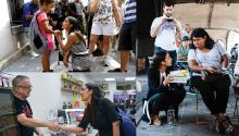 Working through direct contact with fellow citizens has been the basis of the Alexandria Ocasio-Cortez campaign. Photos: Corey Torpie, Andy Hur and EFE.