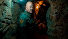 Michael Chiklis expresses the paranoid conditions of the guards. PHOTOGRAPHY: Coyote, CBS