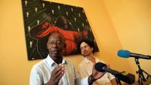 Spokesman for the citizen platform # Otro18 Manuel Cuesta Morua and Boris Gonzalez Arenas (R), manager of the project, hold a press conference in Havana, Cuba, Aug. 24, 2017. EFE/Alejandro Ernesto