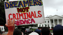 Dreamers are not criminals, says a sign during a rally in Washington. (AP) Source: Televisa