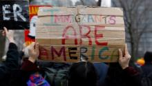 FILE PHOTO: Activists and DACA recipients march up Broadway during the start of their 'Walk to Stay Home,' a five-day 250-mile walk from New York to Washington D.C., to demand that Congress pass a Clean Dream Act, in Manhattan, New York, US, February 15, 2018 Reuters