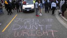 Street graffiti in Brooklyn Center, minutes after the death of Daunte Wright. File image.