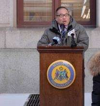 Councilman Oh speaks at the South Korean Flag Raising in January. Photo: William Z. Foster.