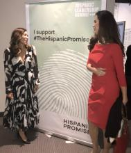 Stacie De Armas (left) speaking with Claudia Romo Edelman (right) at the Hispanic Leadership Summit. Photo Courtesy of The Hispanic Leadership Summit