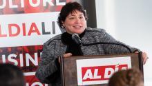 Deborah Santiago speaks at the AL DÍA Higher Education Summit on Jan. 31. Photo: Todd Zimmermann/AL DÍA News.