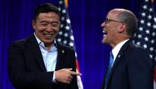 SAN FRANCISCO, CALIFORNIA - AUGUST 23: Democratic presidential candidate Andrew Yang (L) greets Democratic National Committee chairman Tom Perez (R) before speaking during the Democratic Presidential Committee (DNC) summer meeting on August 23, 2019, in San Francisco, California. (Photo by Justin Sullivan/Getty Images)