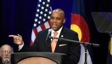 Foto de archivo:El alcalde de Denver, Michael Hancock, pronuncia el discurso sobre el estado de la ciudad de 2017 el 10 de julio de 2017.Helen H. Richardson/Denver Post