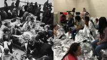 (Left) An overview of immigrants on Ellis Island, New York around 1880. (Photo by Fotosearch/Getty Images). (Right) MCALLEN, TX - JUNE 11: the centralized processing center of McAllen Station of the US Border Patrol, on June 11, 2019, in McAllen, Texas. (Photo by the Office of the Inspector General/Department of Homeland Security through Getty Images)