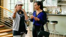"Latinx director Aurora Guerrero, left, instructs actress Dawn-Lyen Gardner in an episode of ""Queen Sugar."" (Alfonso Bresciani / Warner Bros. Entertainment)"
