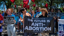 Students protest against abortion in September. Photo: Getty Images