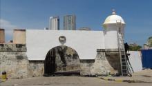 The walls of San Sebastián del Pastelillo Fort were painted. Photo: Screenshot from social media video