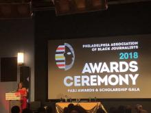 Melony Roy, PABJ President, speaking during the 2018 PABJ Awards & Scholarship Gala. Photo: PABJ Twitter