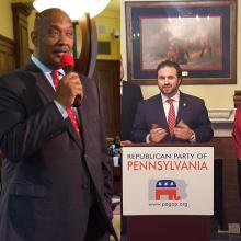 Democratic candidate Dwight Evans (left) and Republican candidate Bryan Leib (right). Photos: Linda Johnson / Chestnut Hill College (left) and Bryan Leib Campaign (right)