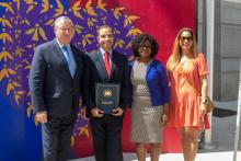 Armando Ezquerra Hasbun was recognized for his work with the Mayor's office during the COVID-19 pandemic at a kick-off event for Immigrant Heritage Month this week. Photo: Philadelphia Mayor's Office