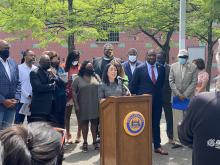 Philly City Councilmembers and other community partners gathered at Hawthorne Park on June 1 to unveil their Youth Powered Anti-Violence Agenda. Photo: Office of Councilmember Helen Gym