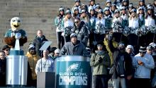 Nick Foles speaks during the Philadelphia Eagles Super Bowl celebration. (Peter Fitzpatrick)