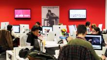 """The """"Gabriel García Márquez"""" Newsroom in AL DIA News, in the city of Philadelphia, PA, boast a group of young and committed writers whose average age is around 25. Exactly what the Nobel Prize Winner, whose picture presides our newsroom right in the middle of the red wall, imagined, but could never execute in his own country."""