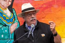 Edward James Olmos at a rally in support of the performing arts and SB 80 at the Casa 0101 Theater in Los Angeles. Photo by David Crane.