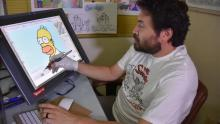 Edwin Aguilar drawing The Simpsons. File image.
