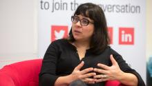 Eileen Truax, Mexican-American journalist who has been writing about DACA and DREAMers extensively since she moved to Los Angeles from Mexico City in 2004, visited the AL DÍAnewsroom on Feb. 21 to talk about her work.Samantha Laub/AL DÍA News