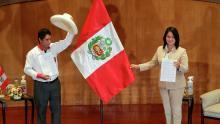 Pedro Castillo on the left and Keiko Fujimori on the right.Photo by Sebastian Castaneda, Reuters.
