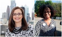 Amy Eusebio (right) officially takes over from Miriam Enriquez (left) as Executive Director of the Office of Immigrant Affairs on September 30. Photos: Mayor's Office of Philadelphia.