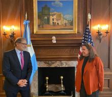 Argentine ambassador to the U.S. Jorge Argüello (left) withhead of the consular section of Argentina's diplomatic mission to the USGeorgina Fernandez Destefano (Right). Photo: Twitter@JorArguello