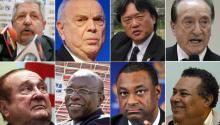 (Top from L to R) Rafael Esquivel, José Maria Marin, Eduardo Li and Eugenio Figueredo. (Bottom from L to R) Nicolás Leoz, Jack Warner, Jeffrey Webb and Julio Rocha.