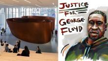 Imagen del interior del SFMOMA junto a un retratode George Floyd. Photo: SFMOMA / Reddit
