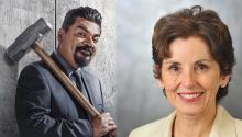 Comedian George Lopez and astrophysicist France Cordova in the Hall of Fame