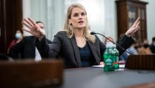 Former Facebook employee, Frances Haugen appeared before the Senate Commerce subcommittee. Photo: Getty Images