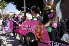 #FreeBritney collective demonstrating outside the courthouse during a hearing. File image.