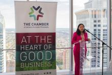 Varsovia Fernandez, Senior Vice President & Philadelphia Market Executive at Customers Bank, at Chamber of Commerce for Greater Philadelphia's Next Frontier event. Photo Credit: Chamber of Commerce for Greater Philadelphia