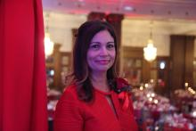 Dr. Maribel Hernandez onstage before the start of the Go Red for Women luncheon. Photo: Emily Neil /AL DÍA News