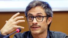 Antes de dar un discurso en la ONU, el actor mexicanoGaelGarcía Bernal, ofreció una rueda de prensa en el marco del Festival Internacional de Cine sobre Derechos Humanos en Ginebra, Suiza. Foto: EFE/ Salvatore Di Nolfi
