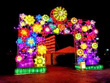 The Gate of Spring is one of the many lanterns on display during the Chinese Lantern Festival. Photo: Peter Fitzpatrick/ AL DIA News
