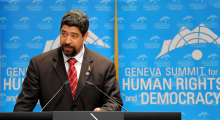 John Suarez speaking at the Geneva Summit in 2013. He helps run a pro-democracy nonprofit in Miami that researches human rights violations in Cuba. Photo Credit: John Suarez