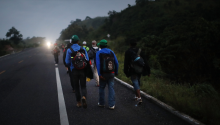 Members of the Central American migrant caravan move to the next town at dawn on November 02, 2018 in Matias Romero, Mexico. (Photo by Spencer Platt/Getty Images)