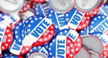 Vote election badge button for 2020 background. Photo: Getty Images