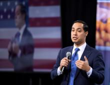 Democratic presidential candidate Julian Castro speaks at the National Forum on Wages and Working People on April 27, 2019 in Las Vegas, Nevada. (Photo by Ethan Miller/Getty Images).