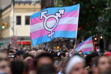 Transgender flag waving in a crowd of protesters. Photo: Angela Weiss/Getty Images