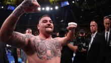 Andy Ruiz Jr celebrates his seventh round tko against Anthony Joshua after their IBF/WBA/WBO heavyweight title fight at Madison Square Garden on June 01, 2019 in New York City. (Photo by Al Bello/Getty Images)